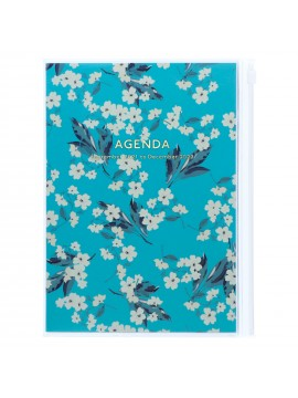 Diary 2022 A5 Vertical Type Zipped Recycled Cover 16 hours Turquoise - Flower Mark's Flower