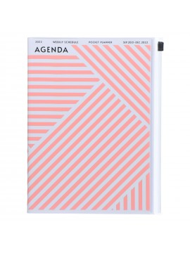 Diary 2022 A5 Vertical Type Zipped Recycled Cover 16 hours Pink - Geometric Mark's