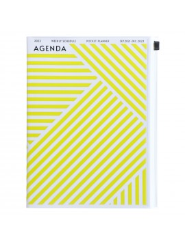 Diary 2022 A5 Vertical Type Zipped Recycled Cover 16 hours Yellow - Geometric Mark's