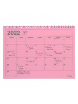 2022 Monthly Desktop Calendar Size M Pink - Mark's