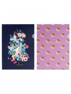 Set of 2 T Clear Files A4 Cygnes en Fleurs Space Cat  - PAUL & JOE La Papeterie