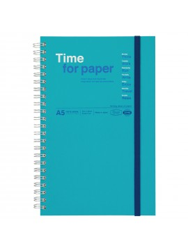 Spiral notebook with elastic band A5 Turquoise - Time for paper
