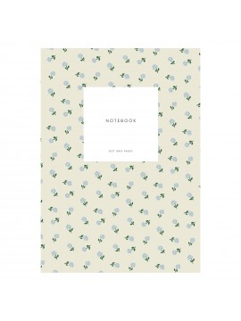 Small Notebook Dot Grid Small flowers creamy grey - KARTOTEK