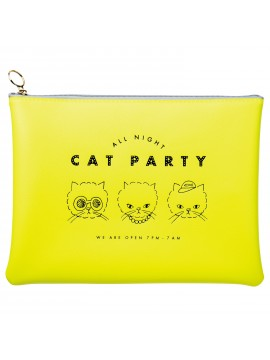 Stationery Pouch Yellow - Cat Party