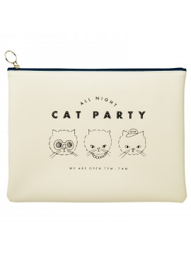 Stationery Pouch White - Cat Party