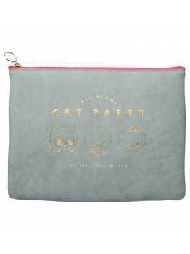 Stationery Pouch Gray - Cat Party
