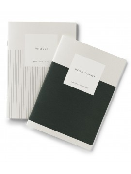 Set of Weekly planner + blank page notebook Dark Green - Kartotek Copenhagen